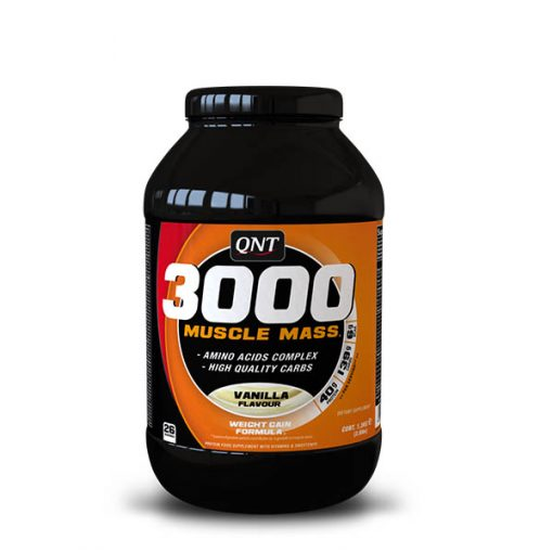gainer mass gainer mass Optimal for muscle growth, Excellent blend of Amino Acids and high-quality carbs Are you currently bulking gainer mass? The qnt 3000 Muscle Mass is made for you. Essential during this important period for an athlete, the protein from the Muscle Mass 3000 will help increase the muscle's volume and take care of it. And in addition to a rich concentration in whey protein, this very high-quality formula contains naturally sourced BCAA's, essential amino acids, alongside an excellent vitamin and carbohydrate complex. Directions: drink 1 scoop ad half with 450 ml water half an hour before and 1 scoop and a half after. Nutritional info: